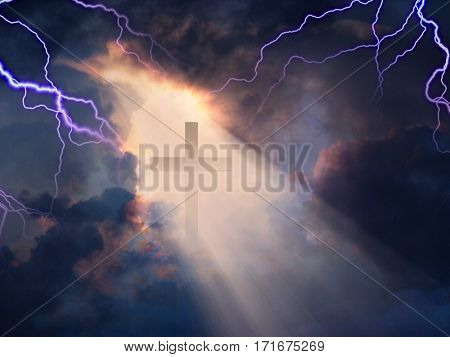 Lightning Strikes while cross is revealed in sunlight streaming   3D Render