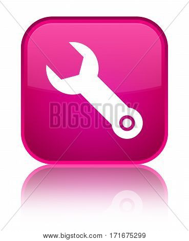 Wrench Icon Shiny Pink Square Button