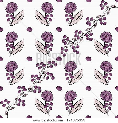 Abstract berries floral seamless pattern. Vector illustration background.