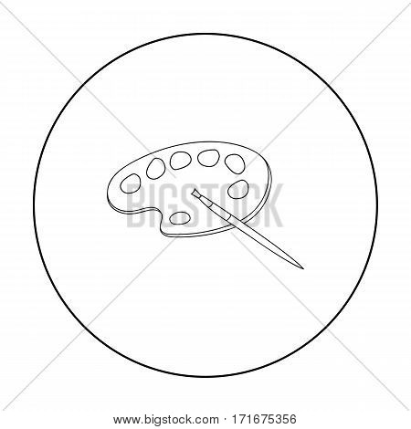 Painting palette with paintbrush icon in outline style isolated on white background. Artist and drawing symbol vector illustration.