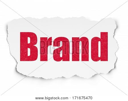 Marketing concept: Painted red text Brand on Torn Paper background with  Tag Cloud
