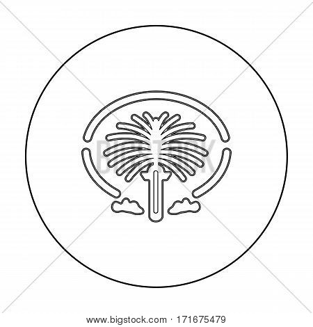 The Palm Jumeirah icon in outline style isolated on white background. Arab Emirates symbol vector illustration.