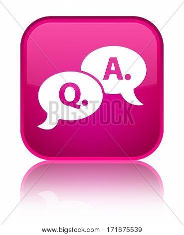Question Answer Bubble Icon Shiny Pink Square Button