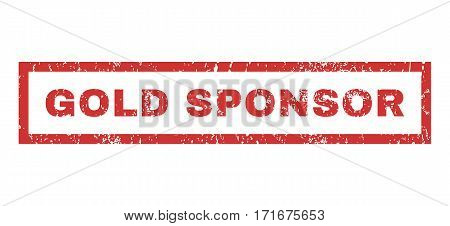 Gold Sponsor text rubber seal stamp watermark. Tag inside rectangular banner with grunge design and dust texture. Horizontal vector red ink emblem on a white background.