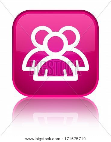 Group Icon Shiny Pink Square Button