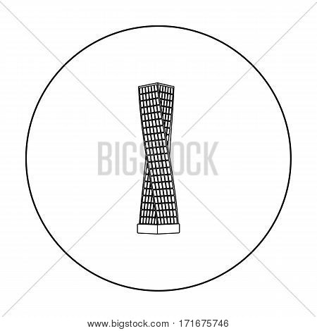 The Shanghai Tower icon in outline style isolated on white background. Arab Emirates symbol vector illustration.