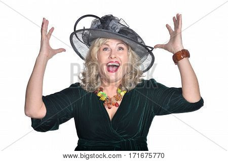 Senior woman in blouse laughing on white background