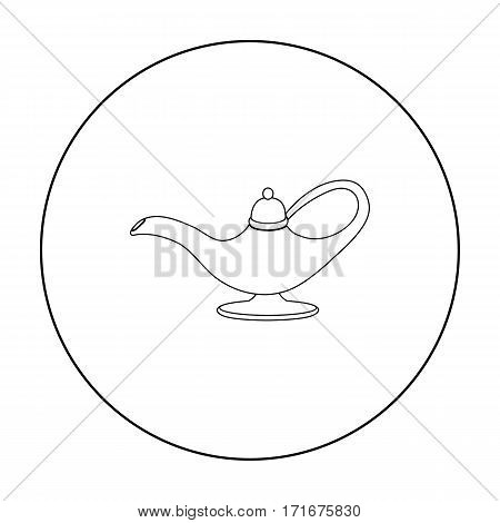 Oil lamp icon in outline style isolated on white background. Arab Emirates symbol vector illustration.