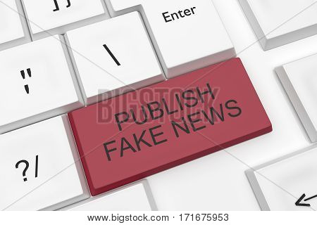 Computer Keyboard Media Concept: Red Publish Fake News Key As A Hot Button 3d illustration