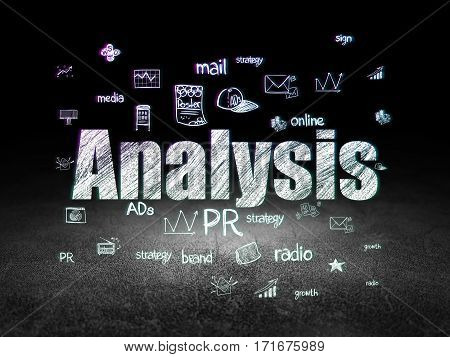 Marketing concept: Glowing text Analysis,  Hand Drawn Marketing Icons in grunge dark room with Dirty Floor, black background