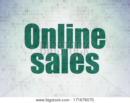 Marketing concept: Painted green word Online Sales on Digital Data Paper background
