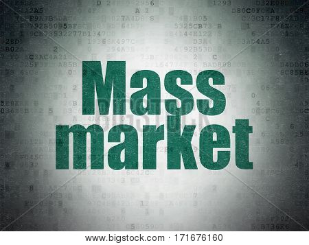 Marketing concept: Painted green word Mass Market on Digital Data Paper background