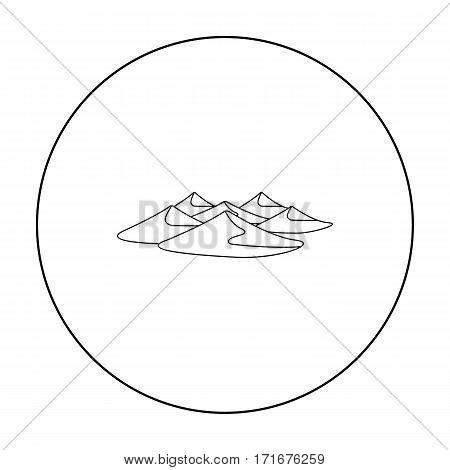 Dunes icon in outline style isolated on white background. Arab Emirates symbol stock vector illustration.