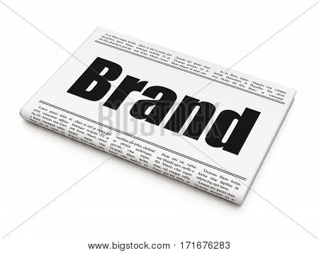 Marketing concept: newspaper headline Brand on White background, 3D rendering