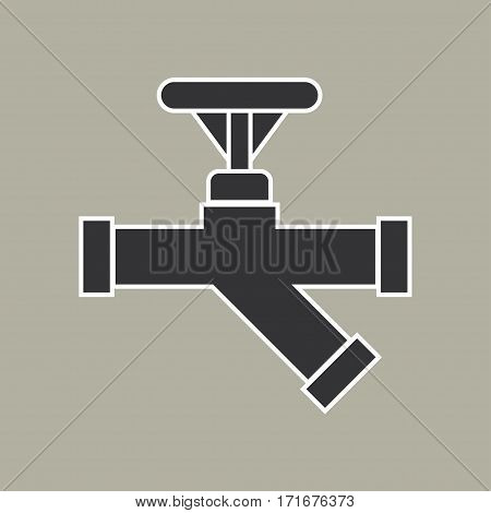 Pipe with valve icon. Vector illustration. - stock vector
