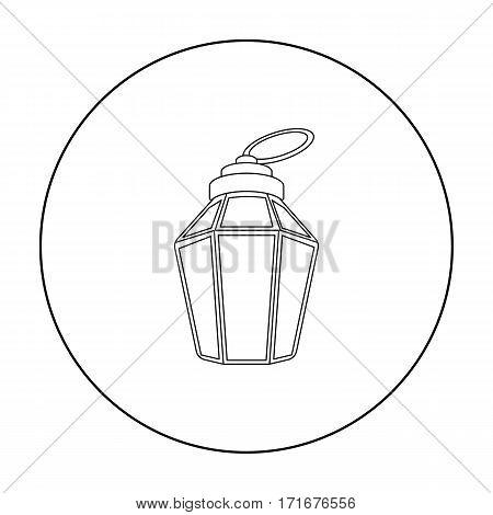 Ramadan lamp icon in outline style isolated on white background. Arab Emirates symbol vector illustration.