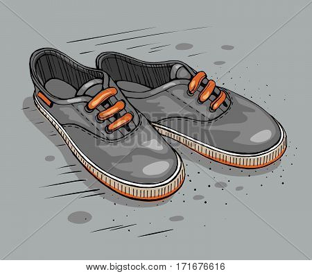 Vector  colored sketch Illustration. Gumshoes skateboard fashion urban sneakers.