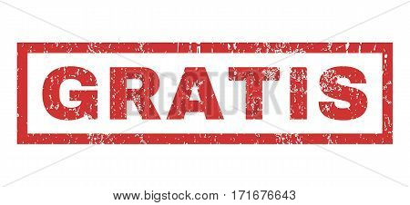 Gratis text rubber seal stamp watermark. Tag inside rectangular banner with grunge design and dust texture. Horizontal vector red ink sign on a white background.