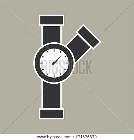 Manometer pipes and valve icon. Vector illustration. - stock vector