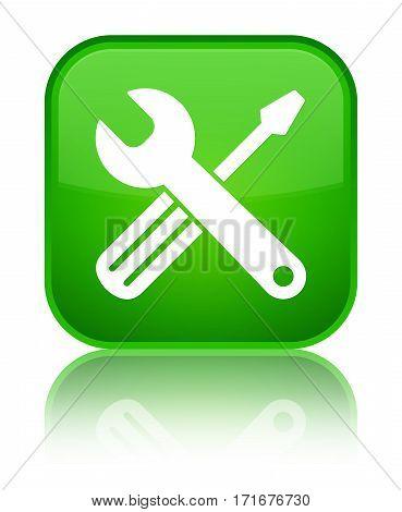 Tools Icon Shiny Green Square Button
