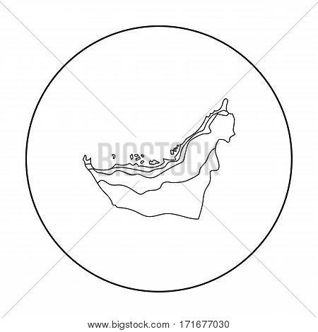 Territory of United Arab Emirates icon in outline style isolated on white background. Arab Emirates symbol vector illustration.
