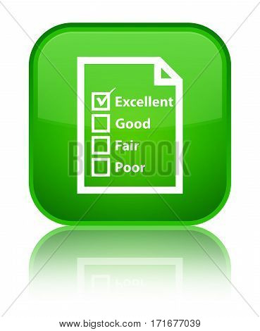 Questionnaire Icon Shiny Green Square Button