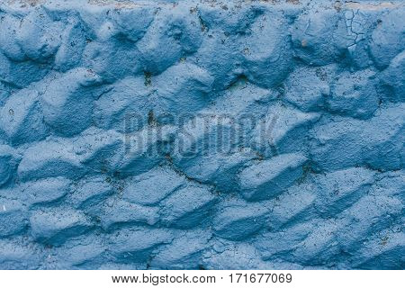The Texture Of The Stone Can Use As Background In Cold Colors, Paint Blue