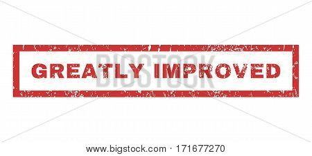 Greatly Improved text rubber seal stamp watermark. Tag inside rectangular shape with grunge design and dirty texture. Horizontal vector red ink emblem on a white background.
