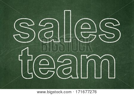 Advertising concept: text Sales Team on Green chalkboard background