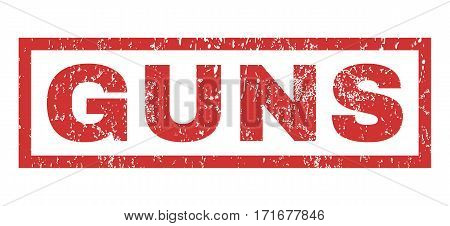 Guns text rubber seal stamp watermark. Tag inside rectangular banner with grunge design and dust texture. Horizontal vector red ink sticker on a white background.