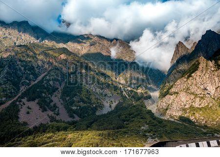 Beautiful view of georgian Military Highway Caucasus mountains.