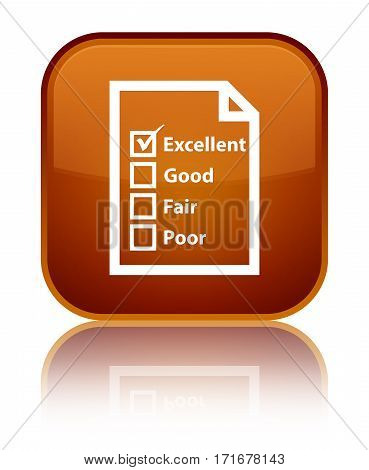Questionnaire Icon Shiny Brown Square Button