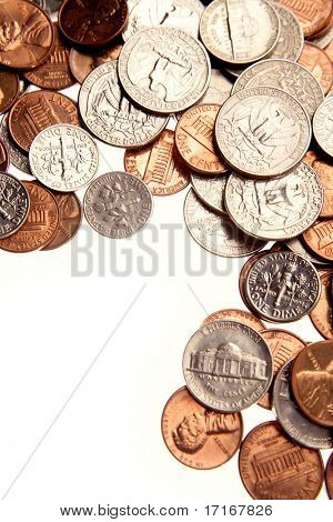 Closeup of assorted American coins