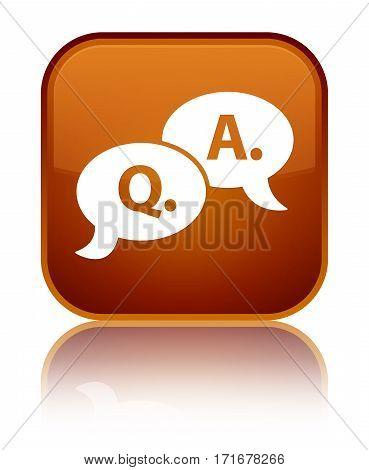 Question Answer Bubble Icon Shiny Brown Square Button