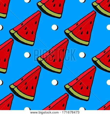 Cute red watermelon slice design on striped blue background seamless pattern wallpaper background.