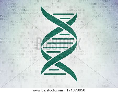 Healthcare concept: Painted green DNA icon on Digital Data Paper background