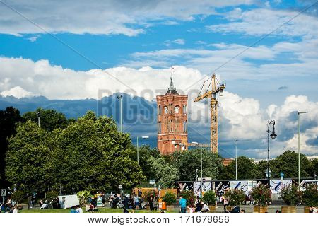BERLIN. GERMANY - AUGUST 01, 2016: A view of the historical part of the city and its modernization.