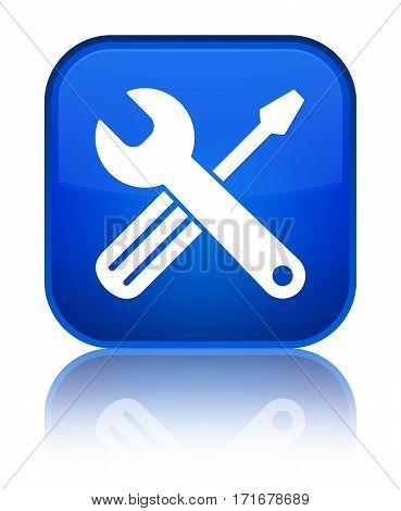 Tools Icon Shiny Blue Square Button