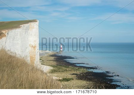 Beachy Head lighthouse at Seven Sisters country park, East Sussex, England.