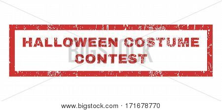 Halloween Costume Contest text rubber seal stamp watermark. Caption inside rectangular shape with grunge design and scratched texture. Horizontal vector red ink emblem on a white background.