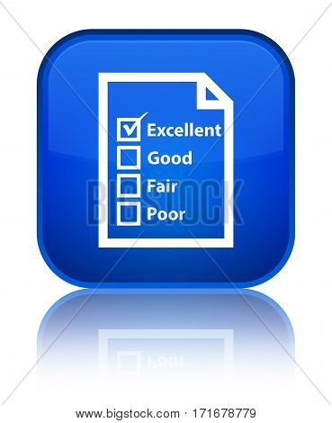 Questionnaire Icon Shiny Blue Square Button