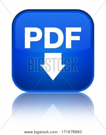 Pdf Download Icon Shiny Blue Square Button