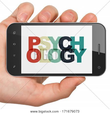 Healthcare concept: Hand Holding Smartphone with Painted multicolor text Psychology on display, 3D rendering