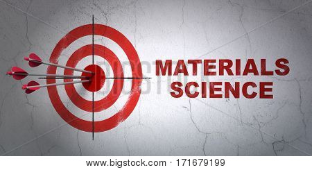 Success Science concept: arrows hitting the center of target, Red Materials Science on wall background, 3D rendering