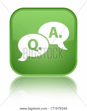 Question Answer Bubble Icon Shiny Soft Green Square Button