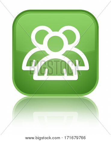 Group Icon Shiny Soft Green Square Button