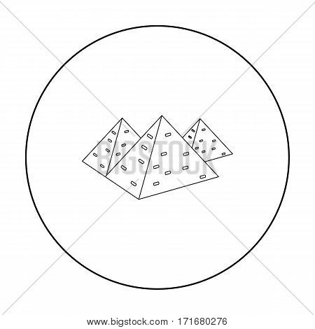 Egyptian pyramids icon in outline style isolated on white background. Ancient Egypt symbol vector illustration.