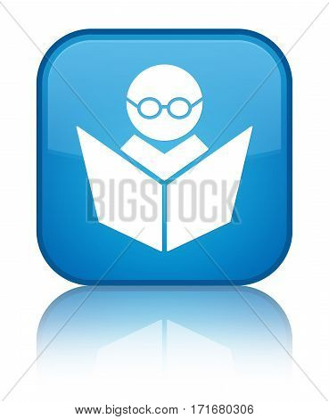 Elearning Icon Shiny Cyan Blue Square Button