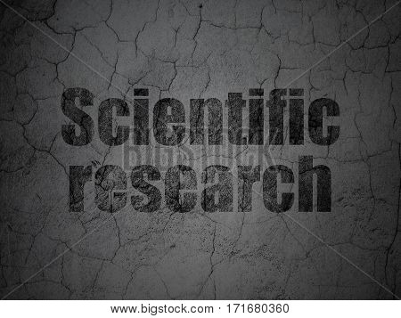 Science concept: Black Scientific Research on grunge textured concrete wall background