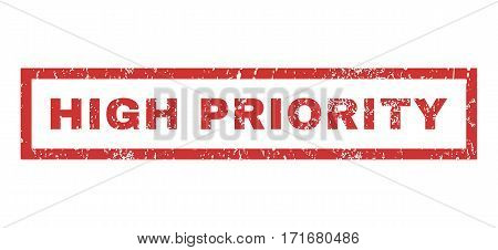 High Priority text rubber seal stamp watermark. Caption inside rectangular shape with grunge design and dirty texture. Horizontal vector red ink sign on a white background.
